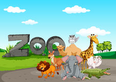 Wild animasl at the zoo. Illustration vector illustration
