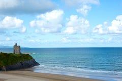 Wild atlantic way Ballybunion castle. Wild atlantic way castle and beach in Ballybunion county Kerry Ireland Stock Photos