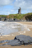 Wild atlantic way castle and beach Royalty Free Stock Images