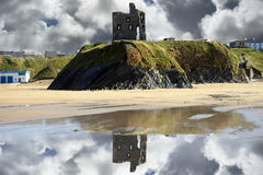 Wild atlantic way castle ruins and beach Stock Photo