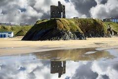 Wild atlantic way castle ruins and beach Stock Photo