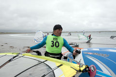 Wild Atlantic way windsurfers getting ready to surf Royalty Free Stock Photography