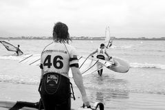 Wild Atlantic windsurfers getting ready to race and surf Stock Photography