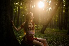 Wild Attractive Woman In Forest. Folklore Character. Female Spirit Mythology. Living Wild Life Untouched Nature. Sexy Stock Photography