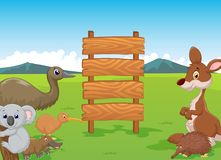 Wild Australia cartoon with wooden sign Stock Photos