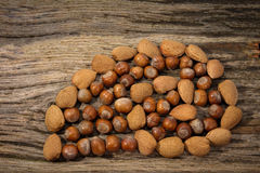 Wild Autumn background. Wild Autumn - Hazel Nuts,  Almonds  on a Driftwood bacround Stock Photography