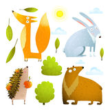 Wild baby animals clip art collection fox rabbit bear hedgehog Royalty Free Stock Images