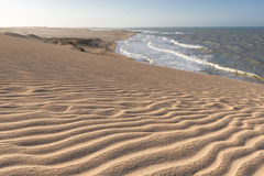 Wild beach and amazing coastline in La Guajira, Colombia. Amazing wild beach, sand dunes and the Caribbean Sea in La Guajira near Punta Gallinas, Colombia 2014 Stock Photo