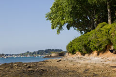Wild beach - Brittany. Perspective of the Brittany beach on the Morbihan Gulf (sea the Geo location Stock Photography