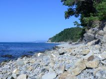Wild beach at coast of Black sea Stock Photo