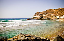 Wild beach on Fuerteventura Island. Canarias Royalty Free Stock Photography