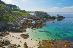 Wild beach in the island Belle Ile en Mer. Stock Image