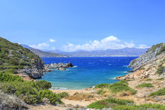 Wild beach on the island of Crete. Greece. View of the wild beach on the island of Crete. Greece Stock Photos