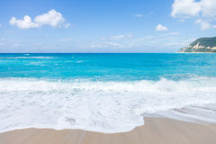 Wild beach of the island of Lefkas in Greece Royalty Free Stock Photography