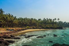 Wild beach in Maharashtra state, India, Arabian sea.  Royalty Free Stock Photography