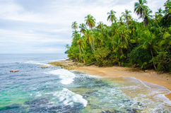 Wild beach Manzanillo in Costa Rica Royalty Free Stock Photography