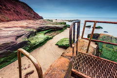 Wild beach and red rock cliffs in site Jurassic Coast in UK Royalty Free Stock Image