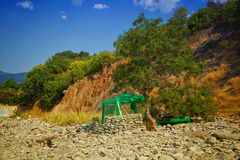 Wild beach, rocks, trees, makeshift hut with awning Stock Photography