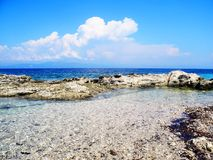Wild beach, rocky coastline with aquamarine, blue, turquoise wat. Er in Greece Royalty Free Stock Photography