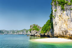 Wild beach on uninhabited tropical island, the Ha Long Bay Royalty Free Stock Images