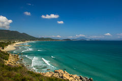 Wild beach in Vietnam. Sea view from the mountain  to the wild beach in Vietnam Royalty Free Stock Images