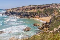 Wild beach,  Vila Nova de Milfontes. Alentejo, Portugal Royalty Free Stock Images
