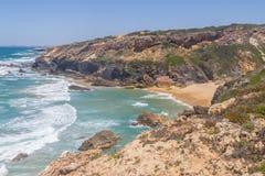 Wild beach,  Vila Nova de Milfontes. Alentejo, Portugal Royalty Free Stock Photos