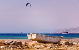 Wild beach and water sport activities near Eilat, Israel Royalty Free Stock Photos