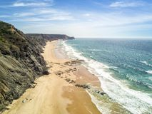 Wild beaches on western part of Algarve, Portugal Stock Photos
