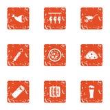 Wild beast icons set, grunge style. Wild beast icons set. Grunge set of 9 wild beast vector icons for web isolated on white background Royalty Free Stock Image