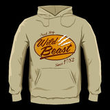 Wild Beast - Vector hoodie print design Royalty Free Stock Images