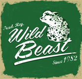 Wild Beast - vector lettering vintage -T Shirt design Stock Images