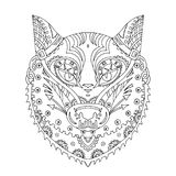 Wild beautiful wolf head hand draw on a white background. Color vector illustration