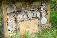 Wild bee insect shelter at a meadow Royalty Free Stock Photos