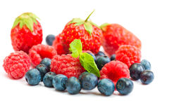 Wild berries. Blueberry, strawberry and raspberry  isolated on a white background Stock Photography