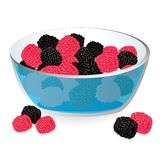 Wild berries in bowl Stock Images