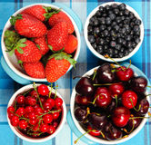 Wild berries in bowls Stock Photo