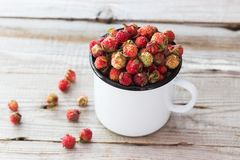 Wild berries in a cup. Wild strawberry in a cup on wooden background Royalty Free Stock Images