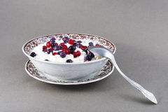 Wild berries with curd and sour cream. Stock Photos