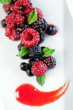Wild berries with fruits of the forest sauce. A composition of wild berries served with fresh mint and fruits of the forest sauce Stock Image