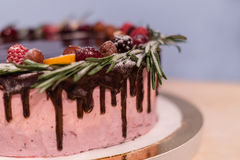Wild berry Birthday cake. With chocolate glaze, rosemary and berries on top Royalty Free Stock Image