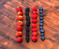 Wild berry mix - strawberries, raspberries, blackberries, blueberries and currants. A Wild berry mix - strawberries, raspberries, blackberries, blueberries and Stock Photo