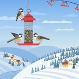 Wild birds feeding. Chickadee birds on feeder. Birdfeeding near winter rural community. Small bird of backyard minimal cartoon design. Robin birds feeding by stock illustration