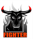 Wild black bull on the smoke. Symbolizing the power, fighting spirit, bravery, courage, heroism. suitable for your mascot, team sport, community identity, sport Stock Photo