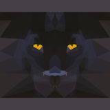 Wild black panther stares forward. Abstract geometric polygonal illustration. Wild black panther stares forward. Nature and animals life theme. Abstract vector illustration