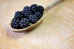 Wild blackberries. Close up of wild blackberries in wooden spoon Stock Images