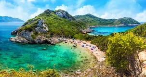 Wild blue lagoon of Porto Timoni beach, Corfu island, Greece royalty free stock images