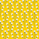 Wild bluebell bright yellow flower spring field seamless pattern. Floral tender fine summer vector pattern background. For fabric textile prints and apparel Stock Photos