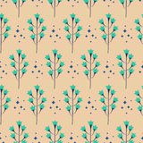 Wild bluebell flower spring field seamless pattern. Wild pastel bluebell flower spring field seamless pattern. Floral tender fine summer vector pattern on beige Stock Image