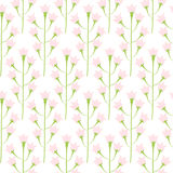 Wild bluebell pink pastel flower spring field seamless pattern. Floral tender fine summer vector pattern on white background. For fabric textile prints and Royalty Free Stock Photos